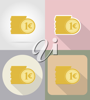 coins euro flat icons vector illustration isolated on background