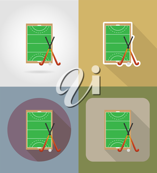 field of play in hockey on grass flat icons vector illustration isolated on background