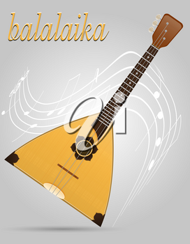 balalaika musical instruments stock vector illustration isolated on gray background