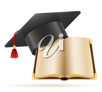 academic graduation mortarboard square cap vector illustration isolated on white background