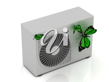 3 green butterfly sits on a new street conditioner on a white background