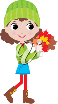 Royalty Free Clipart Image of a Girl Carrying Autumn Leaves