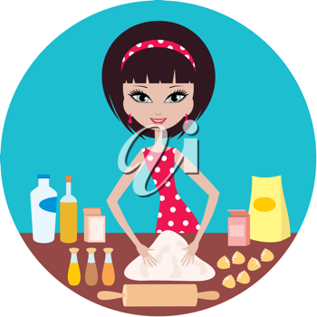 Royalty Free Clipart Image of a Woman Baking