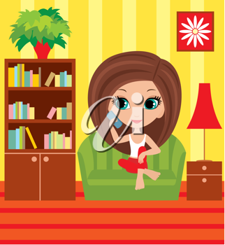 Royalty Free Clipart Image of a Girl Talking on the Telephone