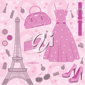 Royalty Free Clipart Image of a Paris Fashion Background