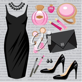 Royalty Free Clipart Image of a Woman's Fashion Set on a Grey Background