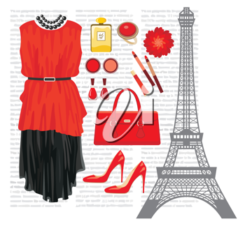 Royalty Free Clipart Image of a Fashion Set and the Eiffel Tower