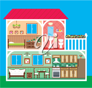 Royalty Free Clipart Image of a Interior of a Home