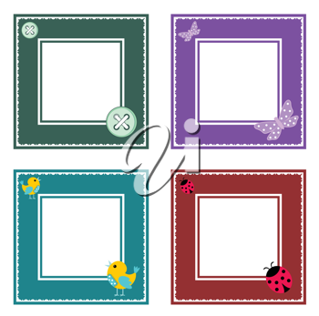 Royalty Free Clipart Image of Four Frames