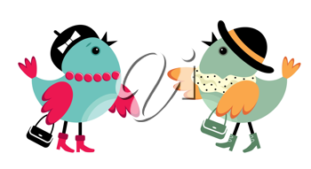 Royalty Free Clipart Image of Two Female Birds