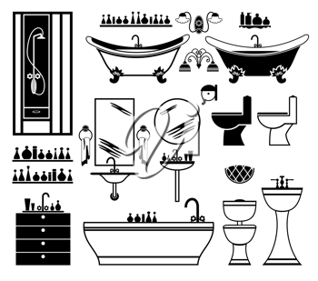 Royalty Free Clipart Image of a Bathroom Items