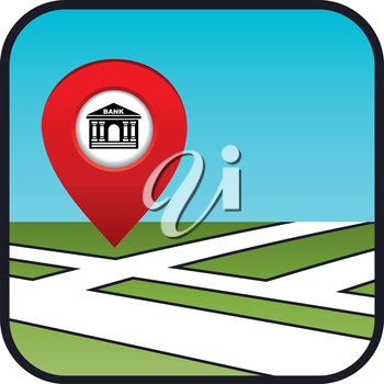 Street map icon with the pointer bank. vector, gradient, EPS10