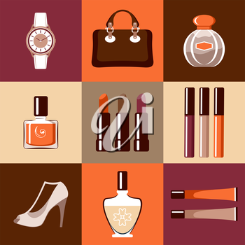 Image of flat round icons with makeup and accessories. Vector illustration