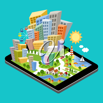 3d isometric city with the specified destination point on the tablet screen. City navigation app. Vector illustration