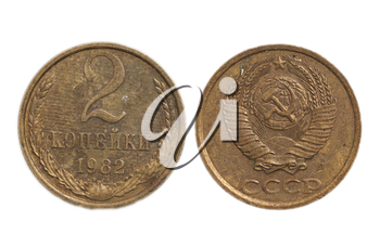 USSR 2 penny coin on a white background