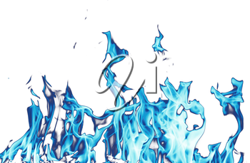 abstract background. blue fire flames on a white background
