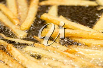 French fries fried in a pan