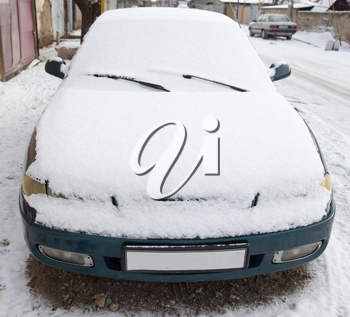 cars in the snow in the winter
