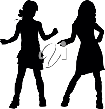 Royalty Free Clipart Image of Young Girls