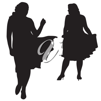Royalty Free Clipart Image of Silhouettes of Women