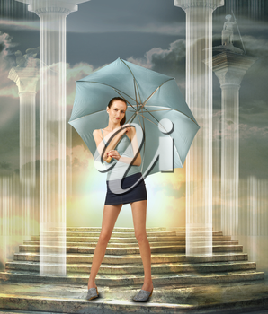Fashion girl with blue umbrella