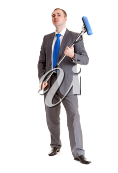 Royalty Free Photo of a Businessman Holding a Mop