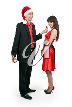 Royalty Free Photo of a Man Hiding a Ring From His Girlfriend