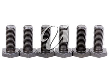 Bolts coated with protective varnish on a white background