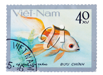 postage stamp with a picture of a fish aquarium