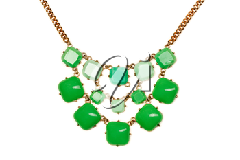 Necklace with green stones. Isolate on white.