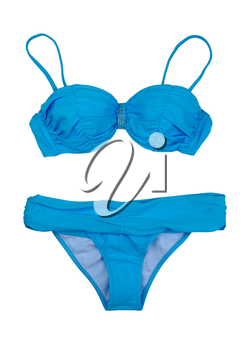 Blue swimsuit, a set of bras and panties. Isolate on white