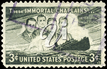 Royalty Free Photo of 1948 US Stamp Shows the Four Chaplains and Sinking S.S. Dorchester