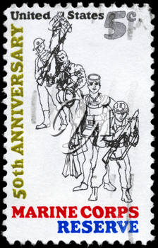 Royalty Free Photo of 1966 US Stamp For 50th Anniversary of the Founding of the US Marine Corps Reserve