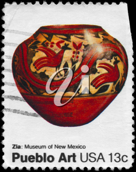 Royalty Free Photo of 1977 US Stamp Shows the Pottery of Zia Tribe, Pueblo Art from Museum of New Mexico