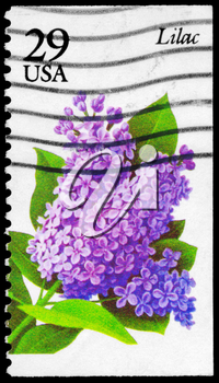 Royalty Free Photo of 1993 US Stamp Shows the Lilac, Garden Flowers