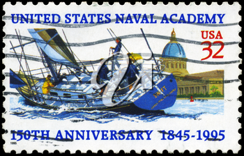 Royalty Free Photo of 1995 US Stamp Shows the Sailer and US Naval Academy, 150th Anniversary