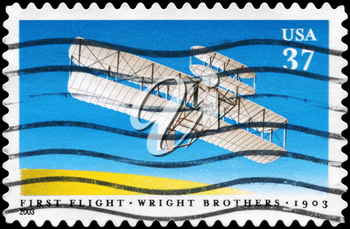 Royalty Free Photo of 2003 US Stamp Shows the First Flight of Wright Brothers, Century Issue