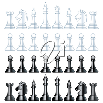 Illustration of the abstract chess black and white pieces set