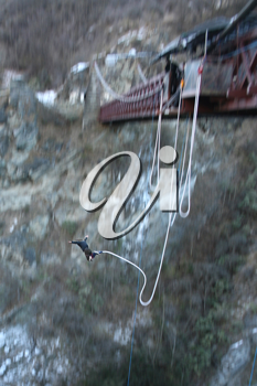 Royalty Free Photo of a Man Bungee Jumping in New Zealand