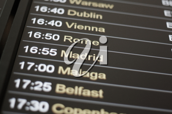 Royalty Free Photo of a List of Flights