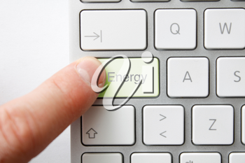 Royalty Free Photo of a Person Using a Keyboard