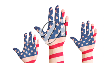 Royalty Free Photo of American Flag Painted Hands
