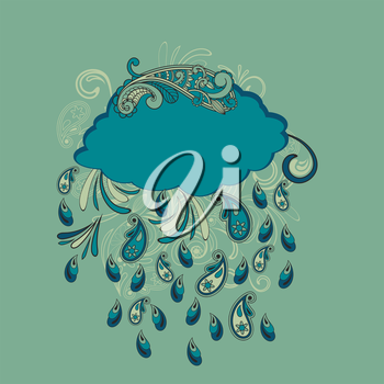 Royalty Free Clipart Image of a Cloud with Paisley Shaped Raindrops