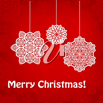 Vector Christmas Greeting Card with hanging snowflakes and greetings on red seamless pattern