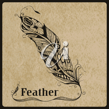 Vector highly detailed hand drawn tattoo feather on rorgh paper texture, place for your text, AI standart font Birch std