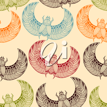 Vector seamless pattern with  scarab beetles, fully editable eps 10 file with clipping mask and seamless pattern in swatch menu