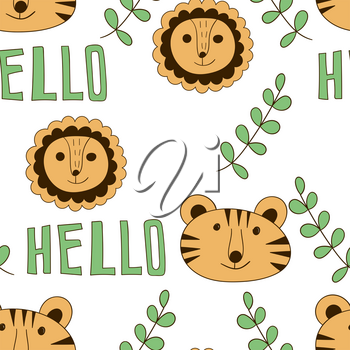 Vector Seamless Pattern with  Cartoon Lions, Tigers, and Hello. Scandinavian style