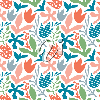 Vector Seamless Abstract Tropical Floral Pattern. Scandinavian Style. Bright Summer Design