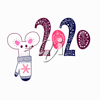 Vector 2020 New Year Greeting Card with mouse and decorated 2020