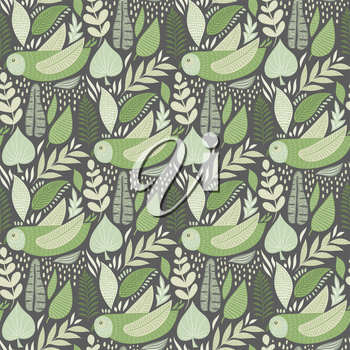 Vector Seamless Tough  Pattern with Owls and Floral Elements. Scandinavian style. Green Pastel Colours